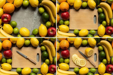 Photo for Top view of tasty colorful fruits and wooden cutting board with lemon slices and knife on grey concrete surface, collage - Royalty Free Image