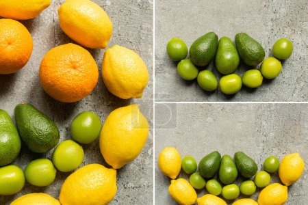 Photo for Top view of colorful oranges, avocado, limes and lemons on grey concrete surface, collage - Royalty Free Image