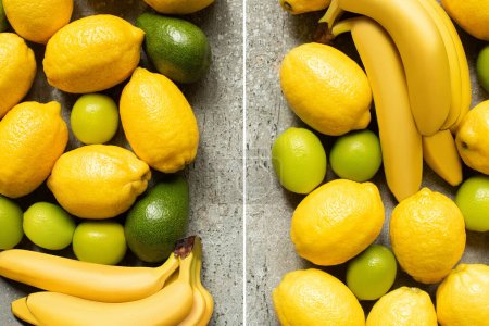 top view of colorful bananas, avocado, limes and lemons on grey concrete surface, collage