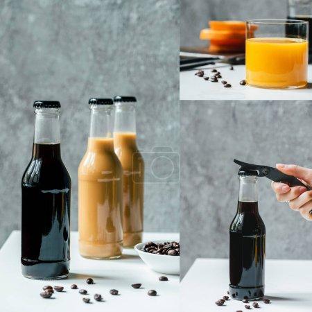 Photo pour Collage de café infusé froid en bouteilles, jus d'orange main féminine avec ouvre-bouteille - image libre de droit