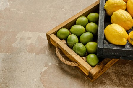 Photo for Ripe lemons and limes in wooden boxes on weathered surface - Royalty Free Image
