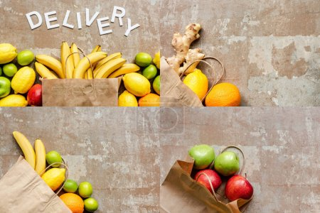 Photo for Top view of word delivery near paper bag with colorful fresh fruits on beige weathered surface, collage - Royalty Free Image