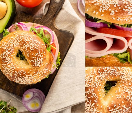 collage of fresh delicious bagel with sausage and vegetables on wooden cutting board