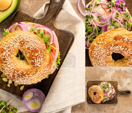 collage of fresh delicious bagel with meat, red onion, cream cheese and sprouts on wooden cutting board