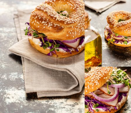 collage of fresh delicious bagel with meat, red onion, cream cheese and sprouts on textured surface with napkin