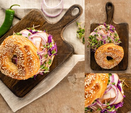 Photo for Collage of fresh delicious bagel with meat, red onion, cream cheese and sprouts on wooden cutting board - Royalty Free Image