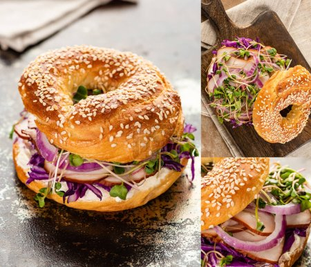 collage of fresh delicious bagel with meat, red onion, cream cheese and sprouts on wooden cutting board on textured surface