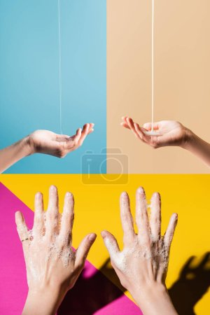 collage of female hands in soap foam, and under flowing liquid soap on multicolored background