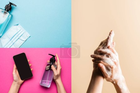 Photo for Collage of medical mask, sanitizer, woman holding antiseptic and smartphone, washing hands on multicolored background, covid-19 concept - Royalty Free Image