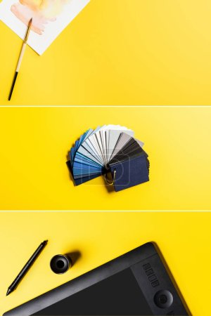 Photo for Collage of drawing tablet, stylus, colorful palette and painting near paintbrush on yellow - Royalty Free Image