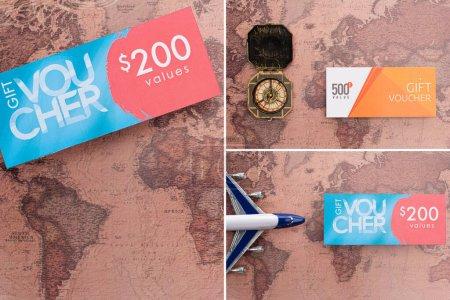 Photo pour Collage de chèques cadeaux, boussole et avion jouet sur la surface de la carte - image libre de droit
