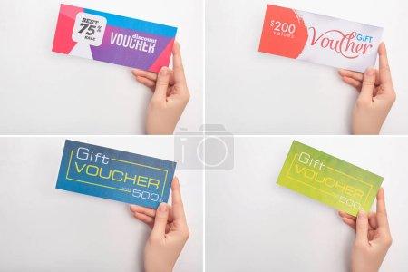 Photo pour Collage de femme tenant des chèques-cadeaux sur fond blanc - image libre de droit