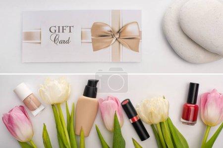 Photo pour Collage de carte cadeau près de pierres zen et cosmétiques décoratifs près des fleurs sur fond blanc - image libre de droit