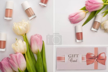 Photo for Collage of nail polishes near tulips and gift card on white background - Royalty Free Image