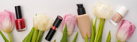 Photo for Panoramic crop of decorative cosmetics and tulips on white background - Royalty Free Image