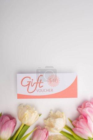 Photo pour Vue du dessus des tulipes et bon cadeau avec panneau de 10 dollars sur la surface blanche avec espace de copie - image libre de droit