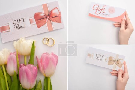 Photo for Collage of woman holding gift cards and wedding rings near flowers on white surface - Royalty Free Image