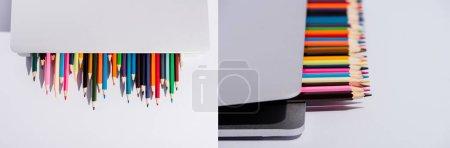 Photo pour Collage de crayons de couleur dans un ordinateur portable moderne sur fond blanc, prise de vue panoramique - image libre de droit