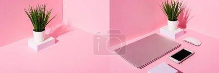 Photo for Collage of pink workplace with blank sticky notes, smartphone, laptop, computer mouse and plant, panoramic shot - Royalty Free Image