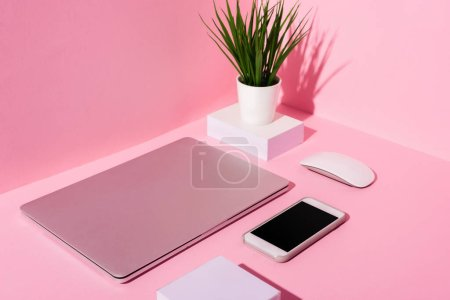 Photo for Pink workplace with blank sticky notes, smartphone, laptop, computer mouse and plant - Royalty Free Image