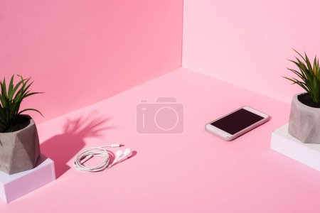 smartphone with blank screen, earphones and plants on pink background