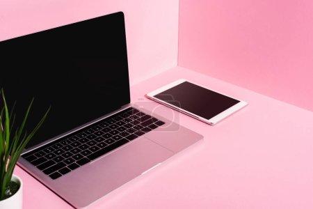 Photo pour Gadgets modernes avec écrans vierges et plante sur fond rose - image libre de droit