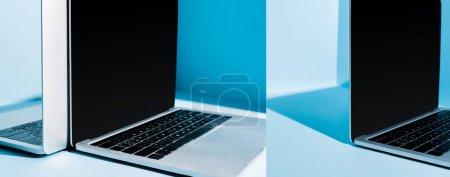 Photo pour Ordinateurs portables modernes au lieu de travail bleu dans la lumière, collage - image libre de droit