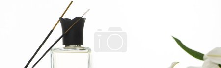 Photo for Aroma sticks and perfume isolated on white, panoramic shot - Royalty Free Image