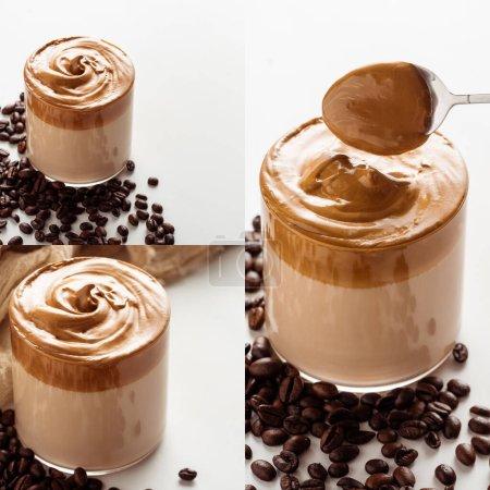 collage de délicieux café Dalgona en verre près des grains de café sur fond blanc
