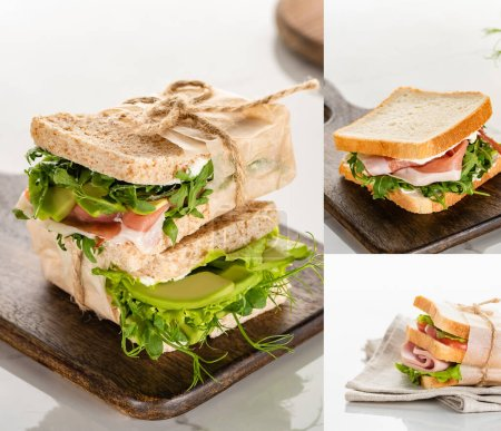 Photo for Collage of fresh green sandwiches with meat on wooden cutting board on marble white surface - Royalty Free Image