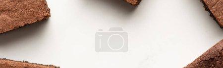 Photo pour Vue de dessus de délicieux morceaux de brownie sur fond blanc, panoramique - image libre de droit