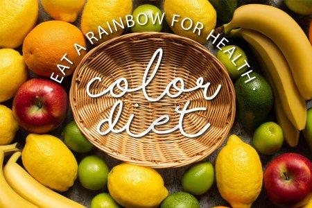 vue de dessus des fruits colorés savoureux autour du panier en osier avec illustration de régime de couleur
