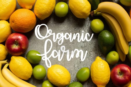 Photo for Top view of tasty colorful fruits on grey concrete surface, organic farm illustration - Royalty Free Image