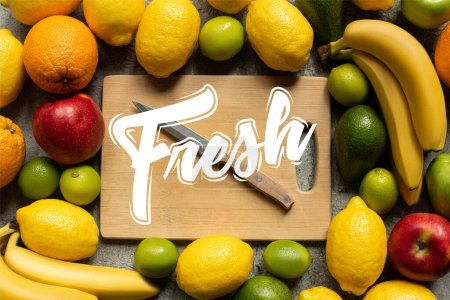 Photo for Top view of tasty colorful fruits and wooden cutting board with knife, fresh illustration - Royalty Free Image