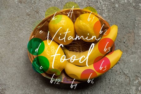 Photo for Top view of colorful bananas and lemons in wicker basket on grey concrete surface, vitamin food illustration - Royalty Free Image