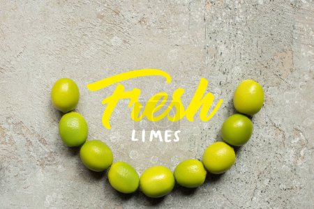 Photo for Top view of green limes on grey concrete surface with fresh limes illustration - Royalty Free Image