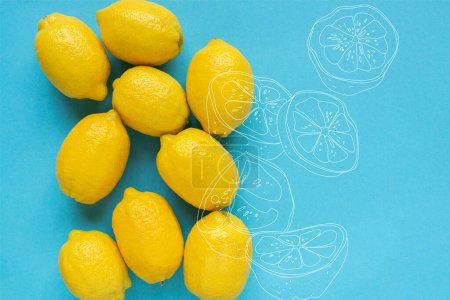 Photo for Top view of ripe yellow lemons on blue background - Royalty Free Image