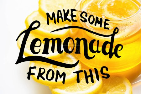 Photo for Close up view of lemonade with lemon slices on white background, make some lemonade from this illustration - Royalty Free Image