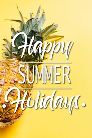 Photo for Fresh ripe pineapple on yellow background with happy summer holidays illustration - Royalty Free Image