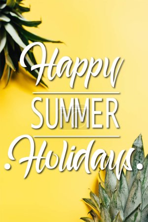 Photo for Selective focus of green pineapple leaves on yellow background with happy summer holidays illustration - Royalty Free Image