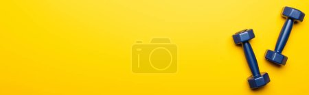 Photo for Top view of blue dumbbells on yellow background, panoramic shot - Royalty Free Image