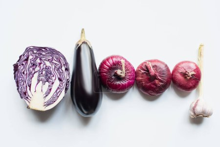 Photo for Flat lay with red onion, red cabbage, eggplant and garlic on white background - Royalty Free Image
