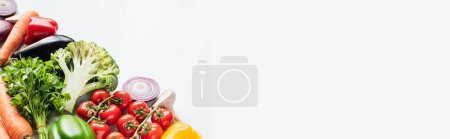 Photo for Fresh ripe colorful vegetables isolated on white background, panoramic shot - Royalty Free Image