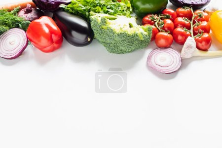 Photo for Fresh ripe colorful vegetables on white background with copy space - Royalty Free Image