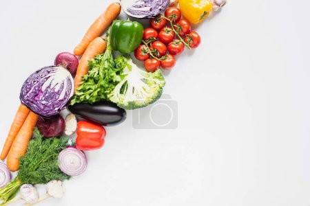 Photo for Top view of fresh ripe colorful vegetables on white background - Royalty Free Image