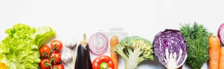 Photo for Top view of colorful assorted fresh vegetables on white background, panoramic shot - Royalty Free Image
