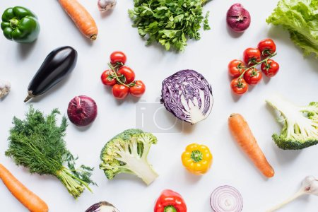 Photo for Top view of colorful assorted fresh vegetables on white background - Royalty Free Image