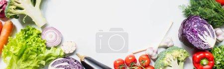 Photo pour Cadre de légumes frais colorés assortis sur fond blanc, vue panoramique - image libre de droit
