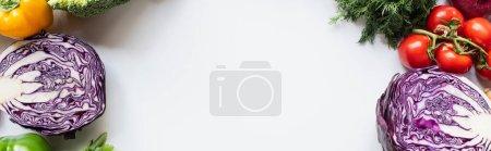 Photo pour Bordures de légumes frais colorés sur fond blanc, panoramique - image libre de droit