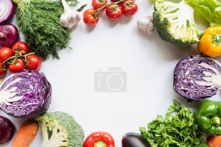 Photo for Frame of colorful assorted fresh vegetables on white background - Royalty Free Image